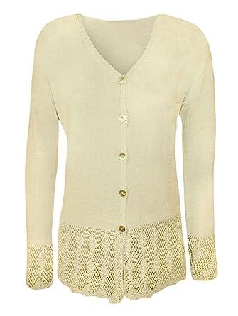 16c301ce8b Islander Fashions Womens Long Sleeve Knitted Button Cardigan Top Ladies  Fancy Crochet Sweater M XXL  Amazon.co.uk  Clothing