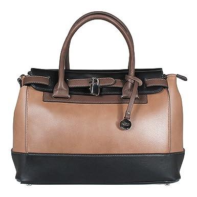L. CREDI Damen Handtasche Bowling Bag Nathalie Taupe/ Braun/ Schwarz