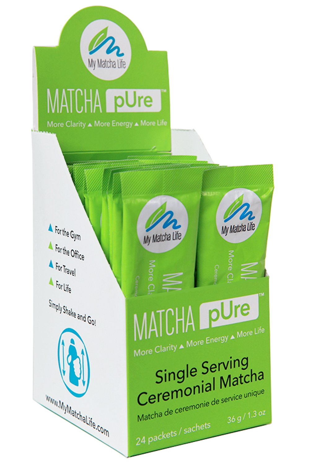Matcha Single Packets To Go - 100% Ceremonial Matcha Green Tea Powder from Japan - Great Taste - Hand-Picked - No Filler, Sugars or Sweeteners. Pure Japanese Matcha (24 pk)