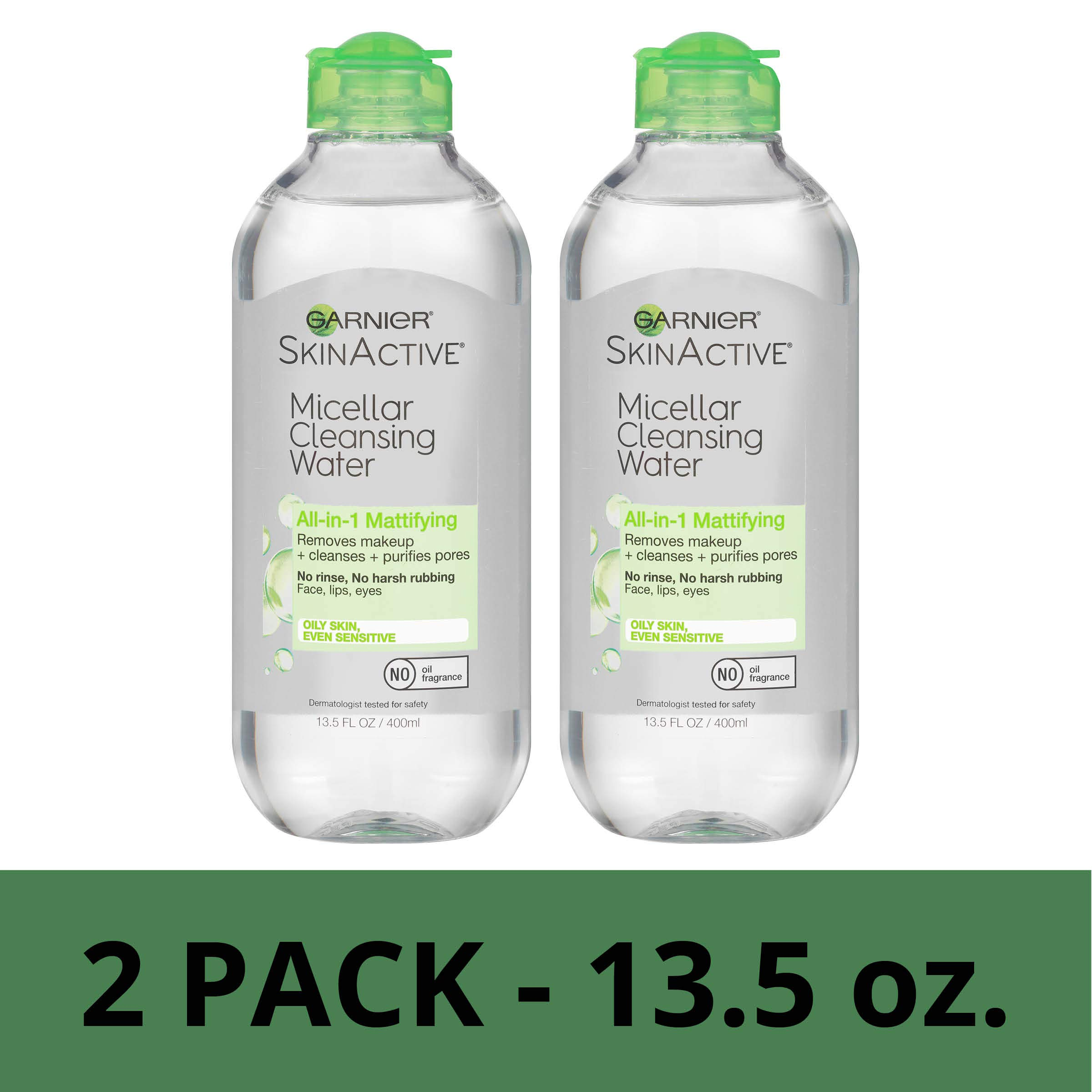 Garnier SkinActive Micellar Cleansing Water, All-in-1 Makeup Remover and Facial Cleanser, For Oily Skin, 13.5 fl oz, 2 Pack by Garnier