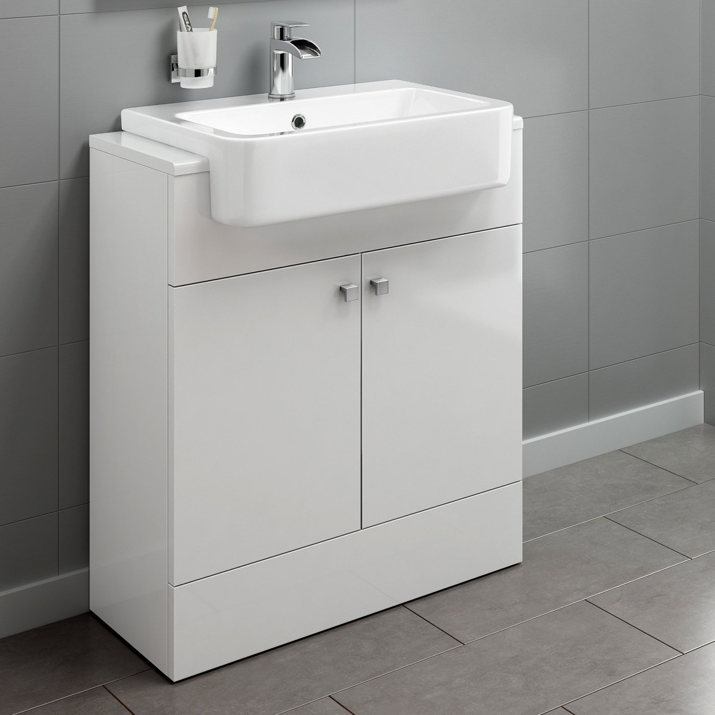 660mm Gloss White Basin Vanity Cabinet Bathroom Storage Furniture Deep Sink Unit iBathUK