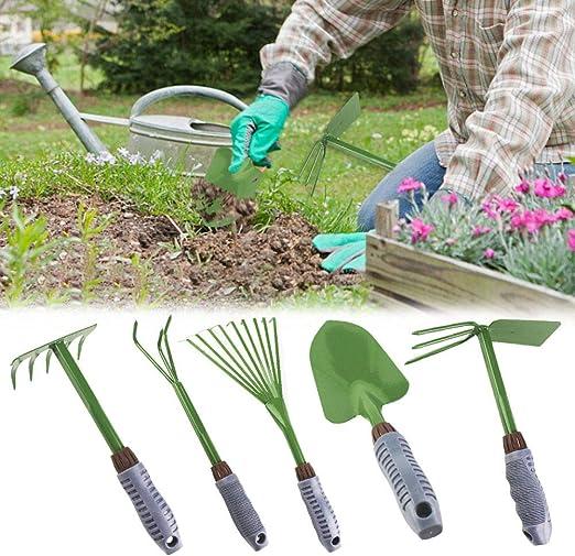 Sotihunt - Juego de 5 Herramientas de jardín para niños, Incluye rastrillo, Pala, Pala, Tenedor y Tijeras de podar: Amazon.es: Jardín