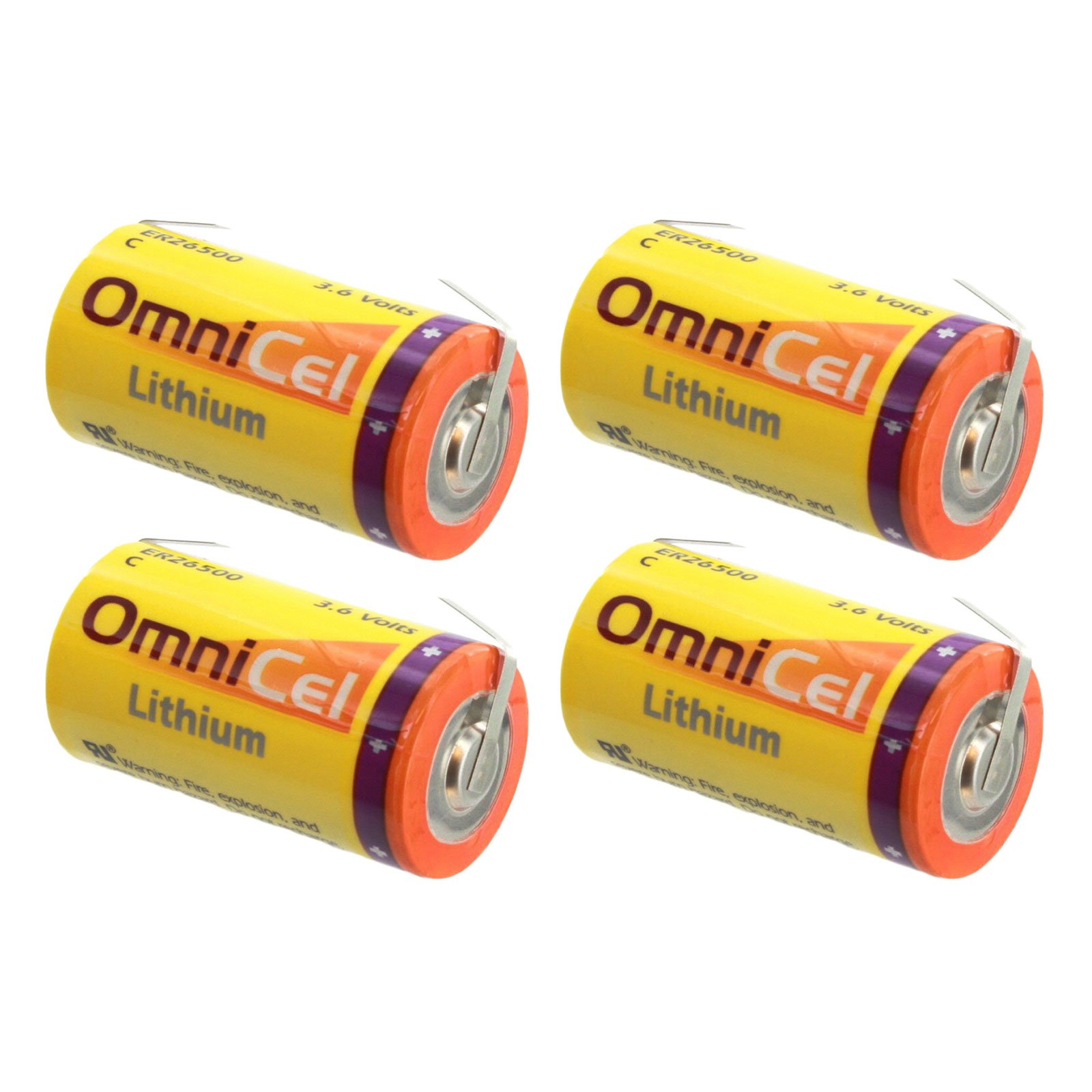 4x OmniCel ER26500 3.6V 8.5Ah Size C Lithium Battery w/ Tabs For Tracking Devices for Dogs, Carbon Monoxide Detectors, Intrusion Sensors, Earthquake tester, Numerical Control Tool, Taximeter by Exell Battery