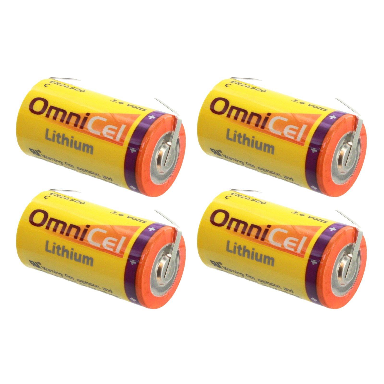 4x OmniCel ER26500 3.6V 8.5Ah Sz C Lithium Battery Tabs Sensors Detectors