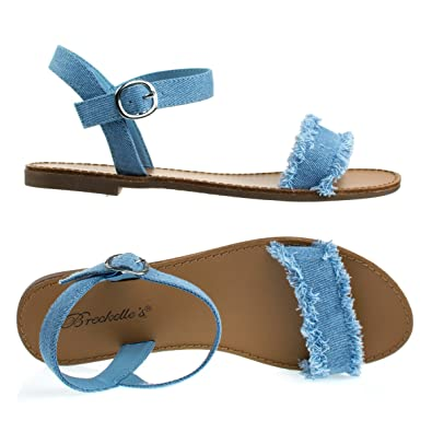 bee61249ad5 Breckelle s Kylee18 Blue Denim Flat Denim Sandal w Torn Frayed Edge  Trimming   Adjustable Ankle