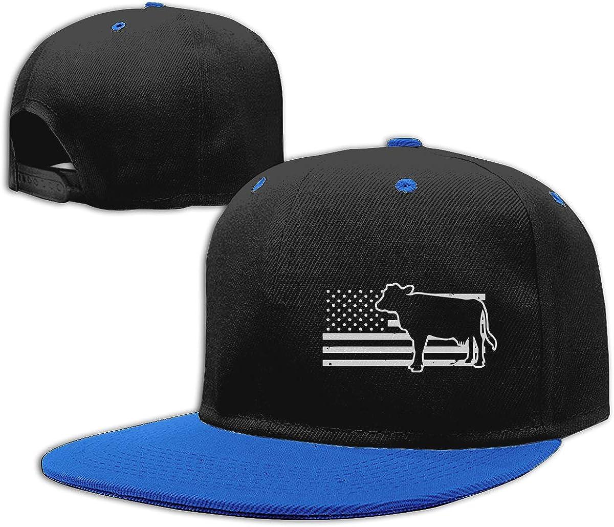 Farmer Flag American Cow Adults Flat Bill Baseball Caps NMG-01 Men Womens Plain Cap