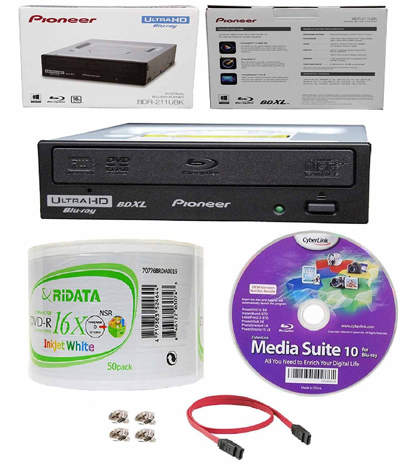 Pioneer 16x BDR-211UBK Internal Ultra HD Blu-ray BDXL Burner, Cyberlink Software and Cable Accessories Bundle with 50pk DVD-R RiDATA White Inkjet Printable