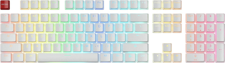 Glorious Aura Doubleshot PBT Pudding Keycaps - 104 Keys, White