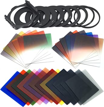 49//52//55//58//62//67//72//77//82MM Graduated G.ND2 G.ND4 G.ND8 Filter Set XCSOURCE 24pcs Square Full Colors ND2//ND4//ND8 Filters +1 PCS Filter Holder for cokin p Series LF078 9 Size Adapter Ring