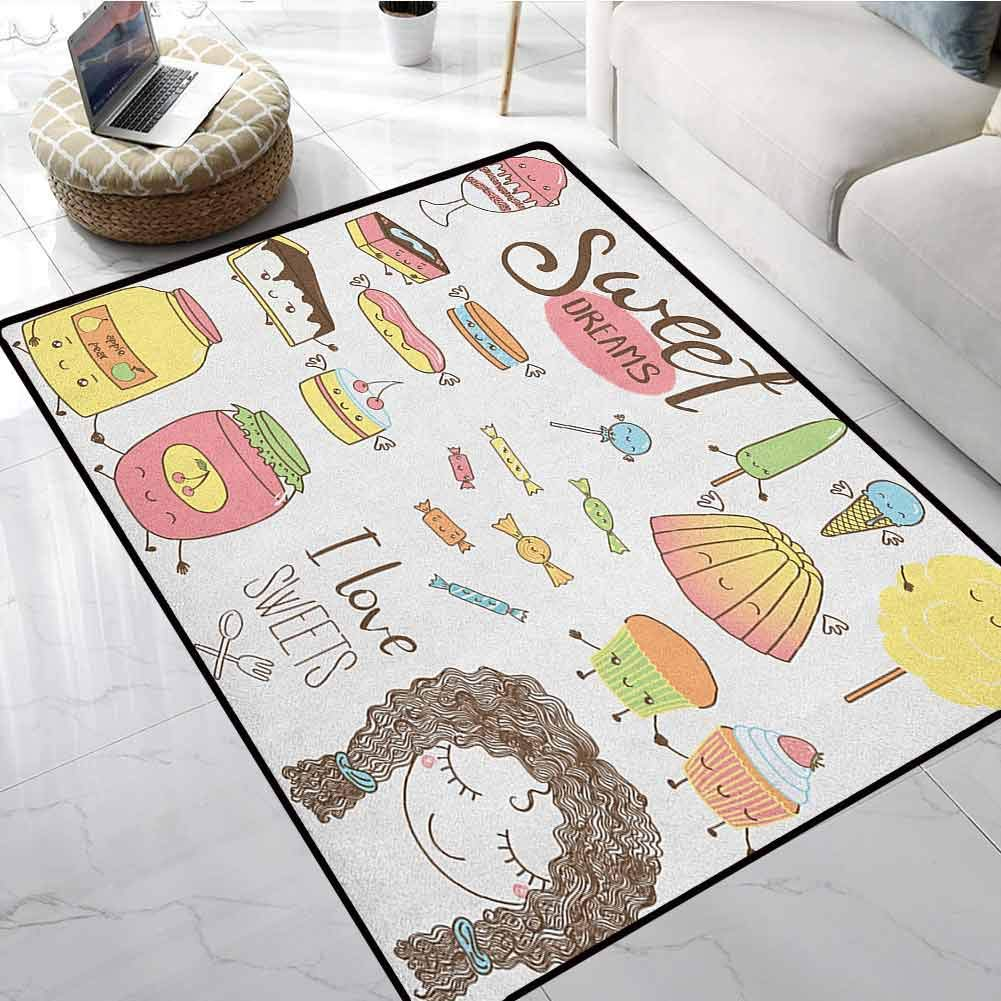 Sweet Dreams Modern Abstract Area Rug Carpet 5x6 ft Teen Girl Dreaming About Sweets Food Doodle Characters Kawaii Cartoon Faces Floor mats for Office Chairs on Carpet