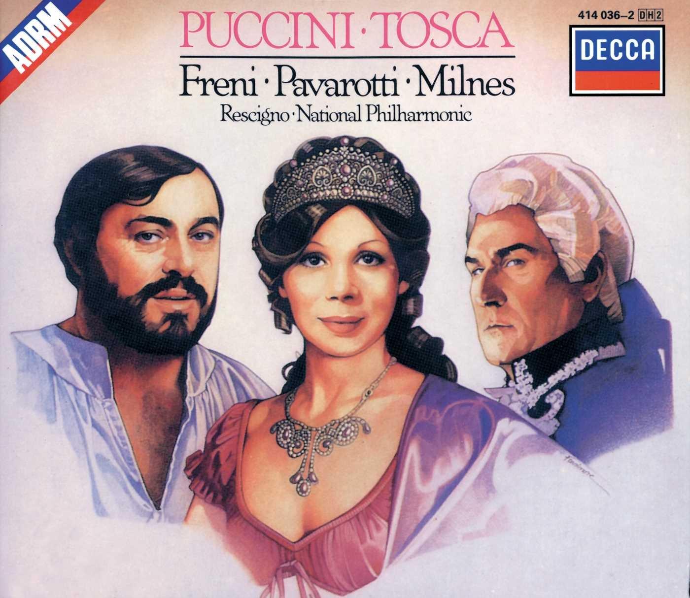 Puccini: Tosca / Freni, Pavarotti, Milnes, Rescigno, National Philharmonic by London / Decca