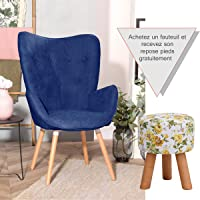 Furnish1 Grand Fauteuil au Style scandinave avec Un revêtement en Tissu Bleu Marine, des accoudoirs rembourés et des Pieds en Bois Massif (Hêtre)
