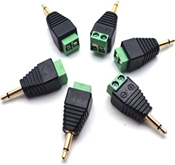 Antrader 3.5mm Male to 2 Screw Mono Terminal Headphone Balum Converter 6pcs
