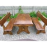 Sedile WC con handgefertigtem giardino tavolo e due panche con schienale in Legno Massello