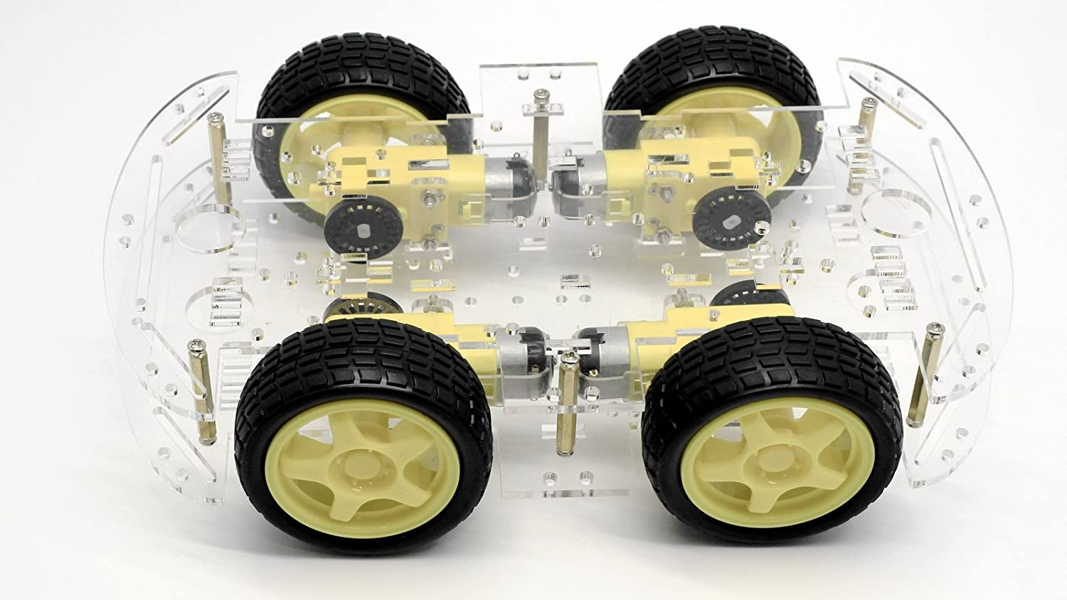 Raspberry Pi and Arduino compatible robot chassis with 4-motor drive