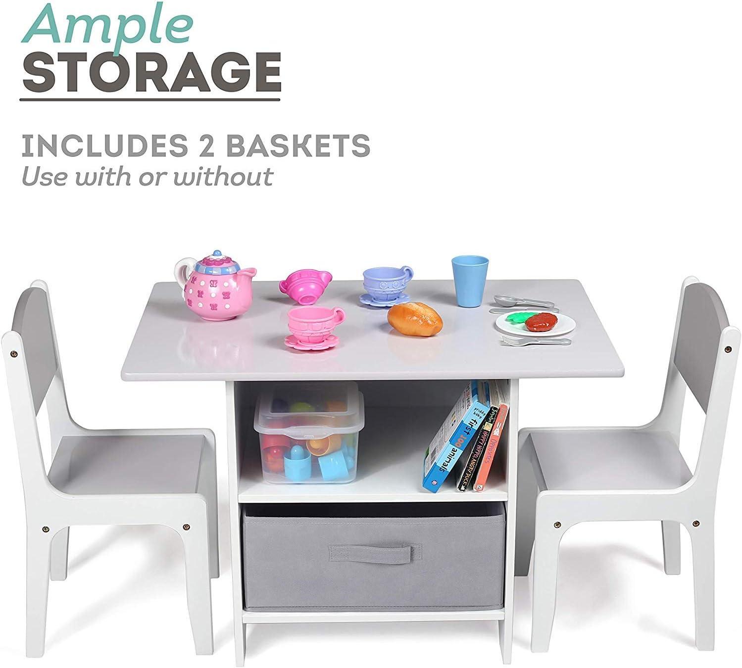 Bois Table D/'activit/és Milliard Ensemble Table Enfant et 2 Chaises avec Espace de Rangement Blanc
