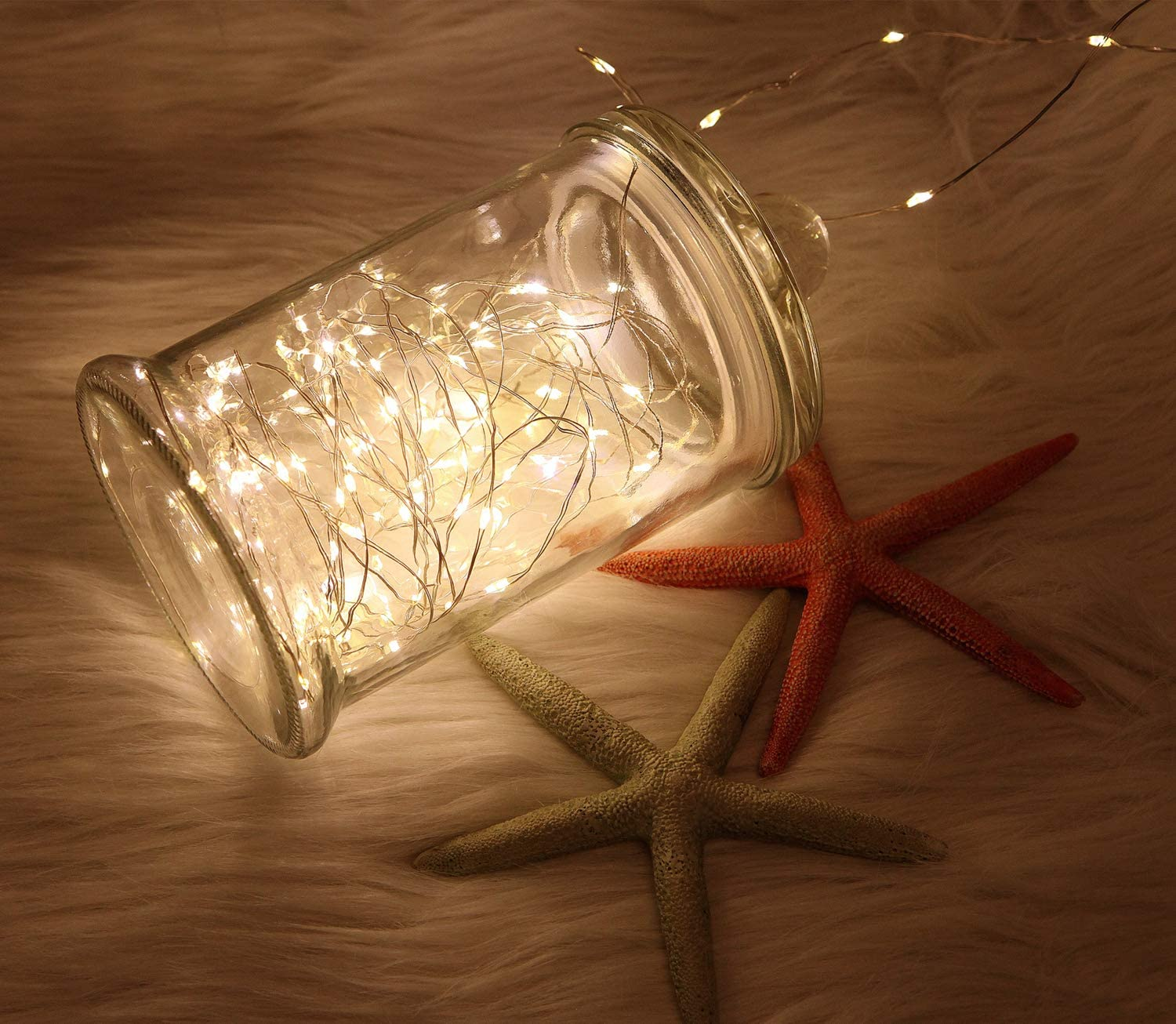 WSgift 2 Pack 20 Feet 60 Warm White Led Fairy Lights Battery Operated with Remote Control Timer Waterproof Silver Copper Wire Twinkle String Lights for Party Bedroom Wedding Christmas Decorations