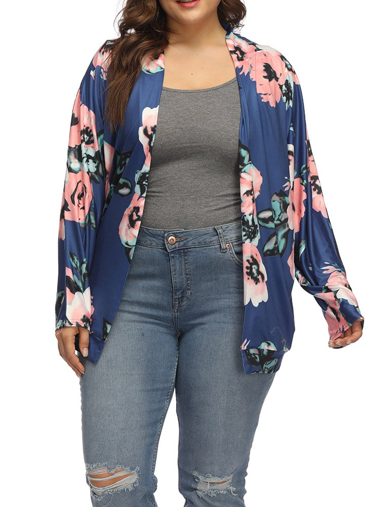 Allegrace Women's Plus Size Loose Kimono Floral Printing Cardigan Long Sleeve Cardigans Blue 2X