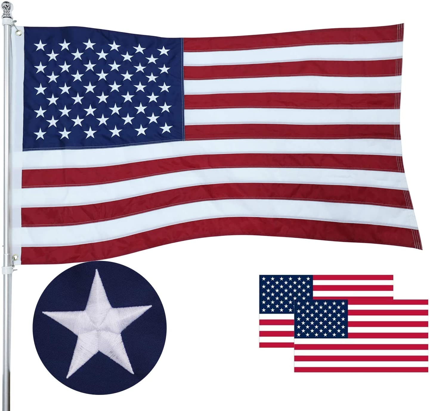Heavy Duty Long Lasting Tough Polyester US Flag with Sewn Strips