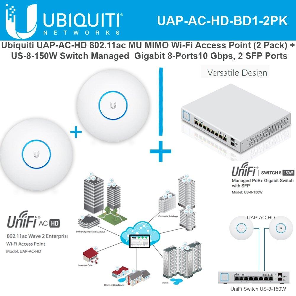 Ubiquiti UAP-AC-HD 802.11ac UniFi Access Point(2pk) + Switch PoE+ Gigabit 8Port by Ubiquiti Networks