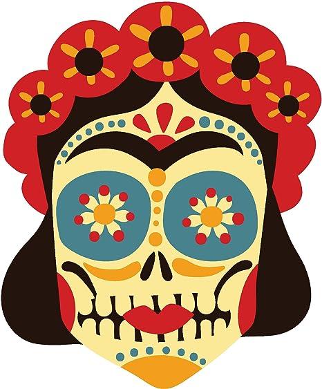 51da361ae4972 Amazon.com: Pretty Dia de los Muertos Art Cartoon Vinyl Sticker (All ...