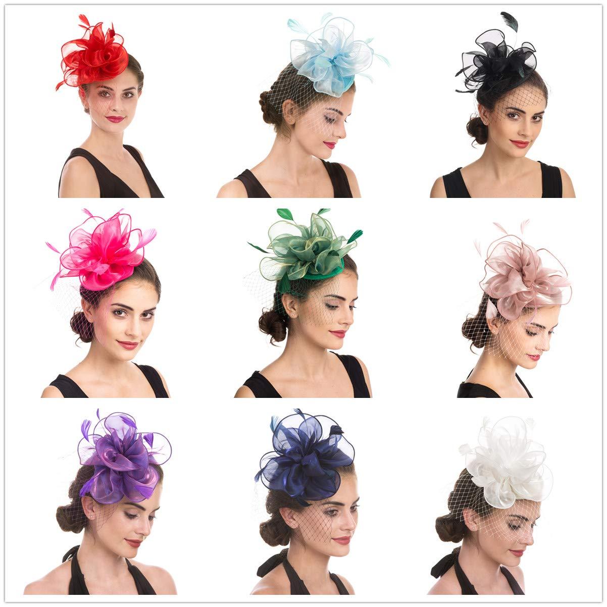 Sinamay flor pluma diadema Fascinator Wedding Headwear raza de las se/ñoras Royal Ascot Pillbox boda c/óctel Tea Party Derby Hat para mujeres