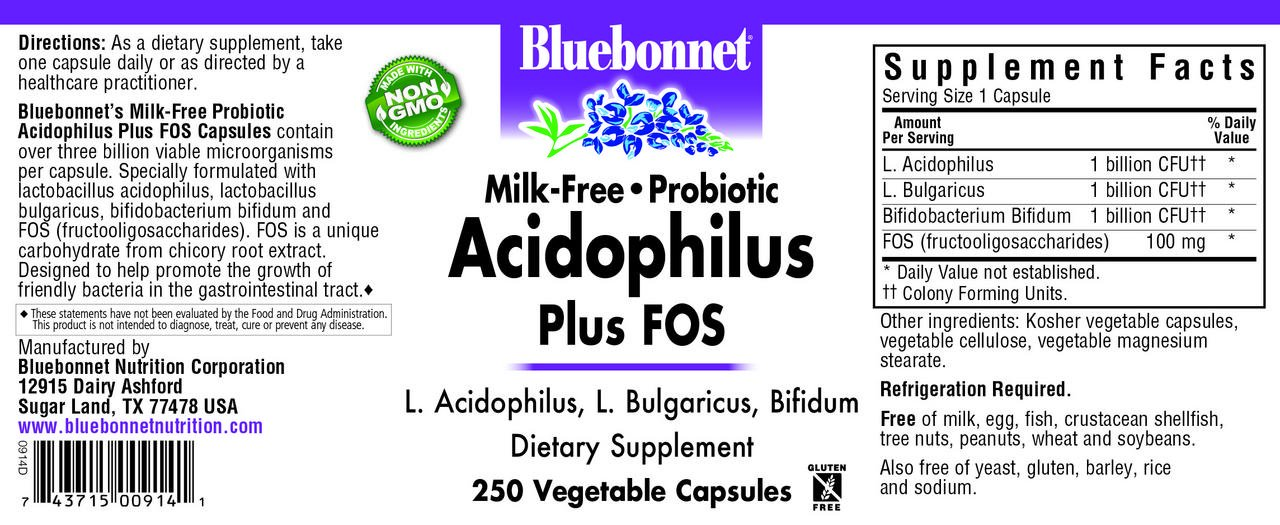 BlueBonnet Probiotic Acidophilus Plus FOS Vegetarian Capsules, 250 Count by Bluebonnet