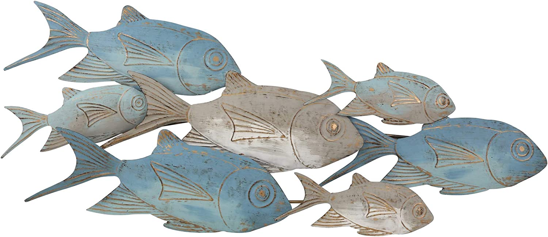 "Sagebrook Home 14421 Metal 42"" School of Fish Walldecor, Blue"