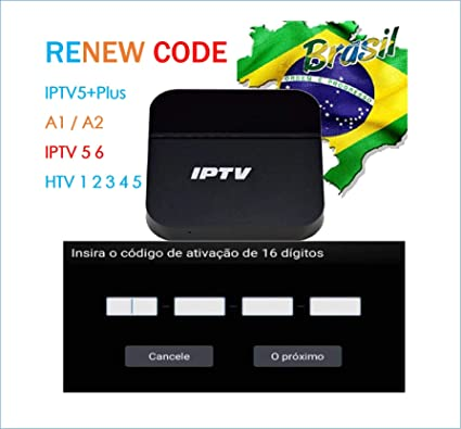 IPTV Brazil TV Box Renew Code, Activation Code for A1/A2/ HTV/IPTV 5 6 6  Plus 6+/ King 5/6,Subscription 16-Digit Renew Code,One Year,TV Box Brazil