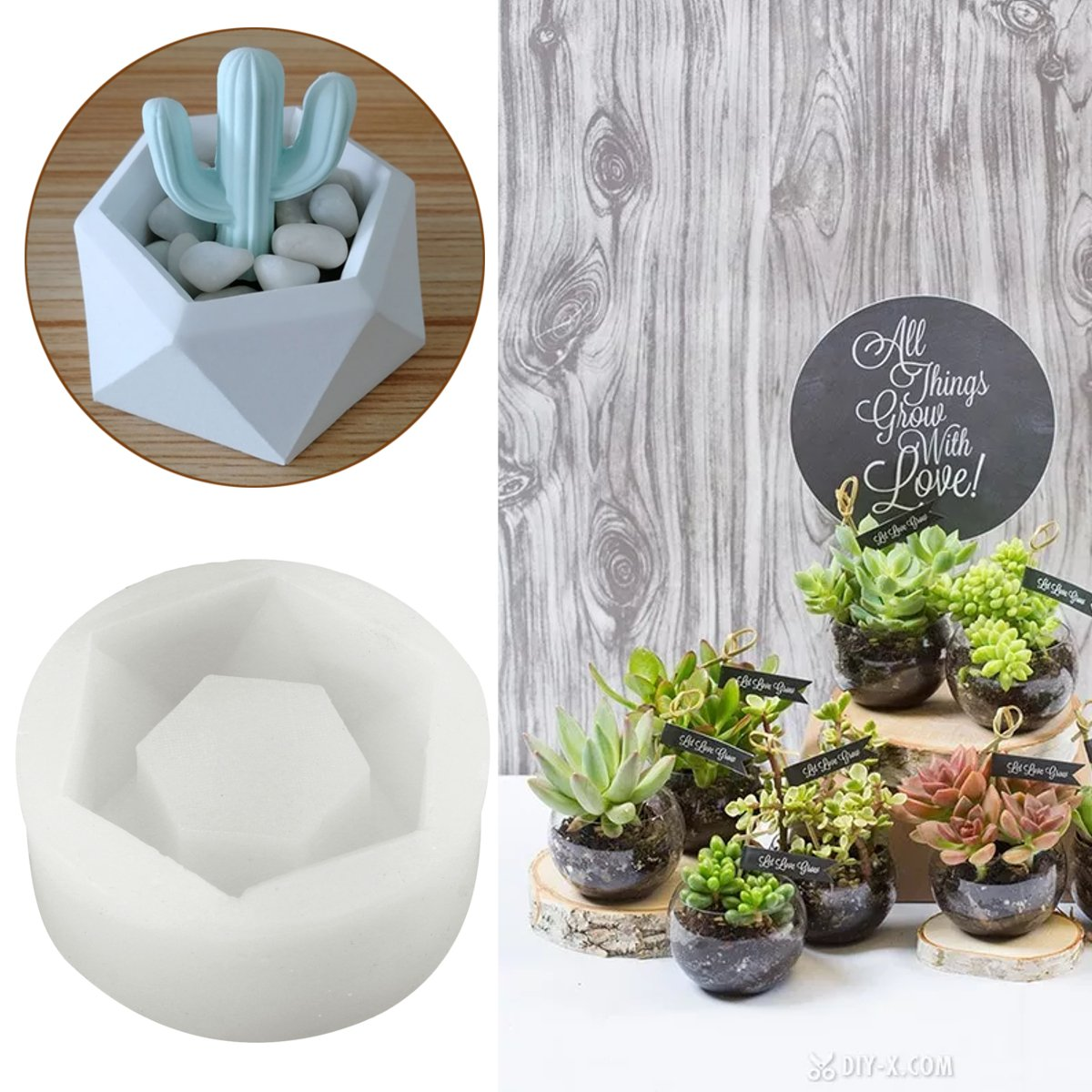Jeteven Flower Pot Silicone Rubber Molds Candle Soap Bottle Mold Handmade Craft Mold DIY Garden Planter Vase Ashtray Mould Tool 8.5 x 8.5 x 3.8cm Round Diamond