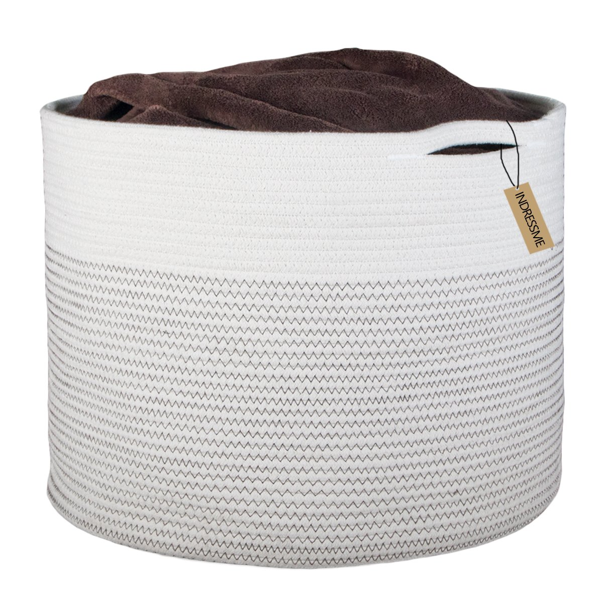 INDRESSME Extra Large Storage Baskets Cotton Rope Basket Woven Storage Bin Baby Laundry Basket with Handle for Diaper Toy Cute Neutral Home Decor Addition Diaper Toy Hamper, 43 x 37CM rack08-mixINDRESSME