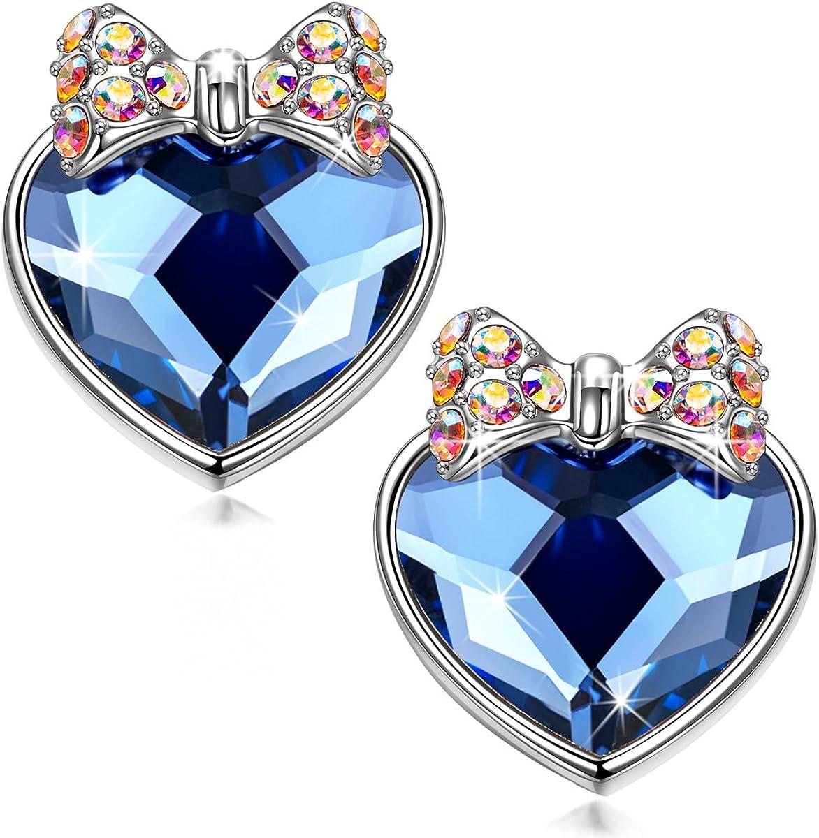 Kami Idea Pendientes Perforados, Secreto del Amor, Lazo Brillante, Cristal Corazón Azul De Swarovski, Embalaje de Regalo, Regalos para Mamá