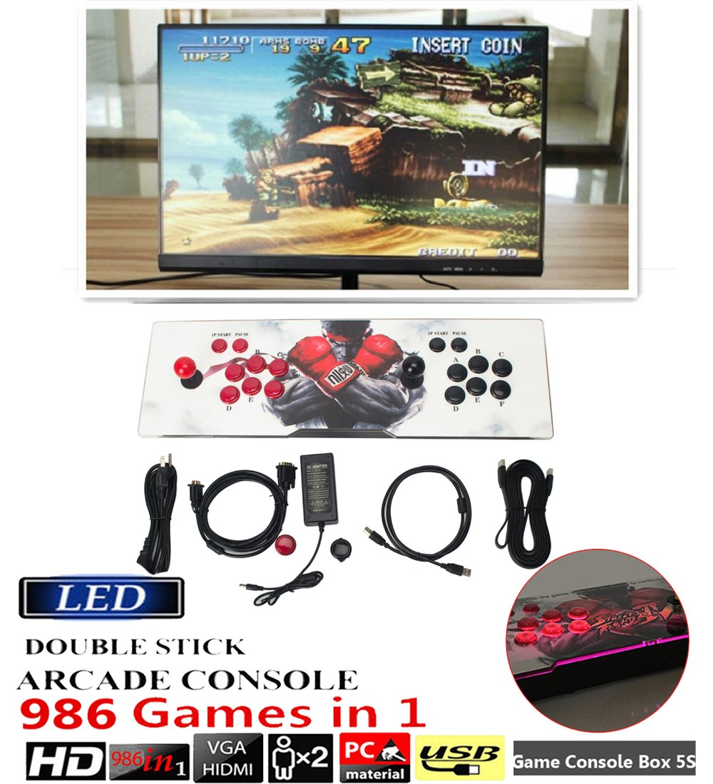 DODOING Ultra Slim Metal Double Joystick and Buttons Arcade Game Console - 2 Players Game Console 5S Plus 986 Classic Games Support Windows PC & TV VGA HDMI Output with Pause Function