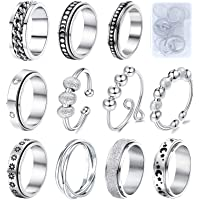 Fidget Rings for Anxiety 8pcs Stainless Steel Spinner Ring Anti Anxiety Ring Spinning Moon Star Cool Stress Relieveing…
