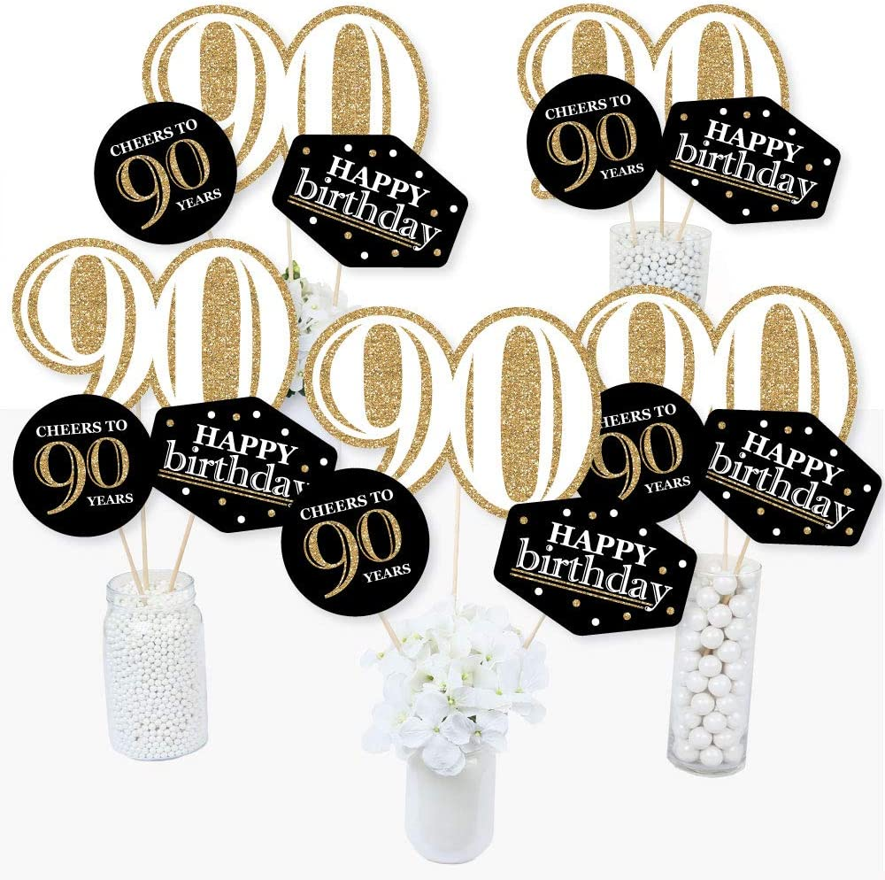 Amazon Com Adult 90th Birthday Gold Birthday Party Centerpiece Sticks Table Toppers Set Of 15 Health Personal Care