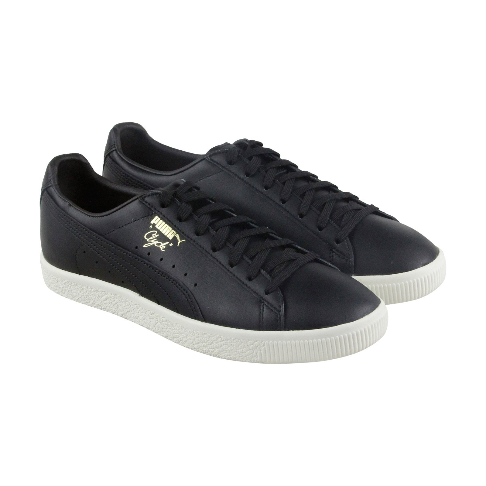 PUMA Clyde Natural Mens Black Leather Lace up Sneakers Shoes 5.5