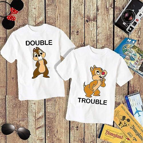 Amazon Double Trouble Chip And Dale Adult Kid Shirt Matching Disney Style Disneyland Disneyworld World Couple Siblings Funny