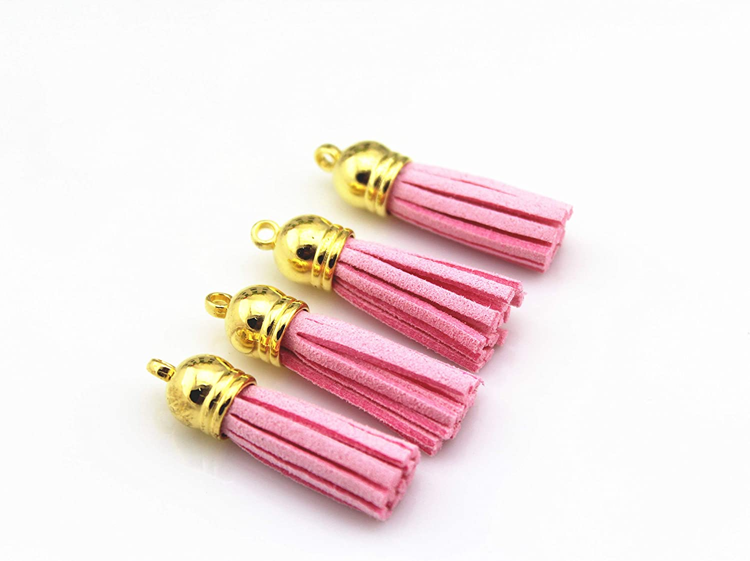 QIANHAILIZZ 40 Gold Cap 1-1/2 Inch Faux Suede Tassel Tassel Charm with CCB Cap for Keychain Cellphone Straps Jewelry Charms LAS1021 (Pink)