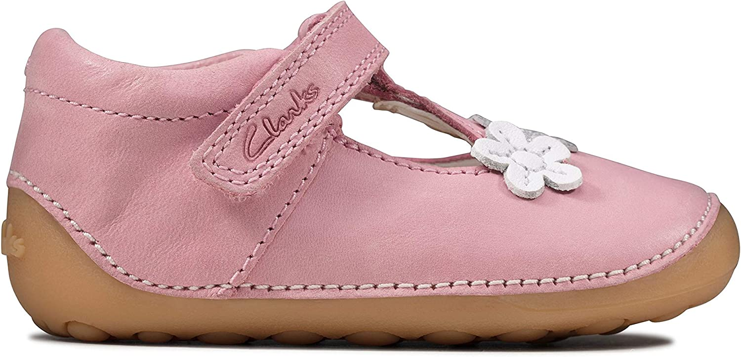 Clarks Tiny Sun Toddler Leather Shoes in Pink Extra Wide Fit Size 5