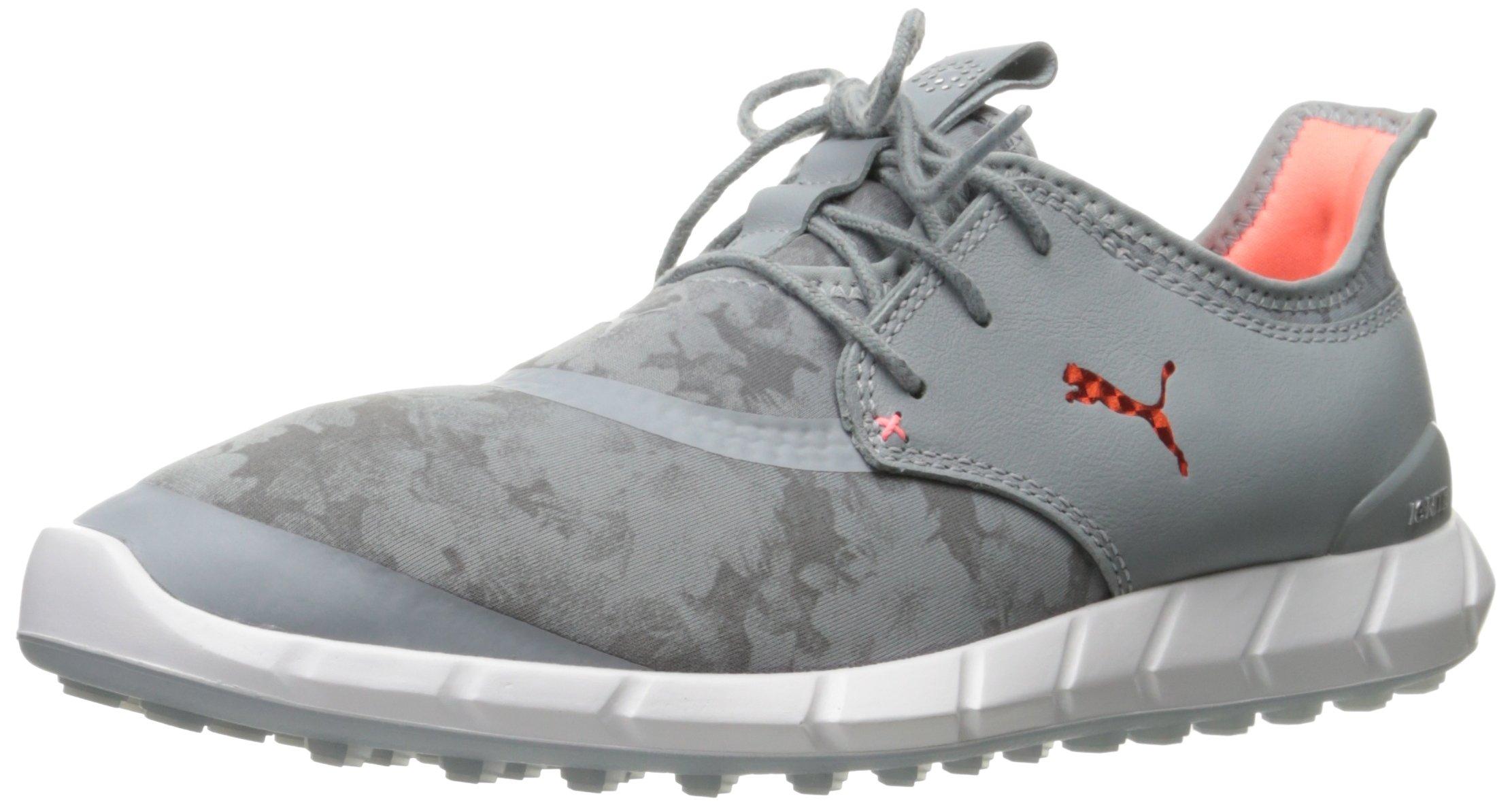 PUMA Golf Women's Ignite Spikeless Sport Floral Golf Shoe, Quarry/Nrgy Peach/Quiet Shade, 8.5 M US