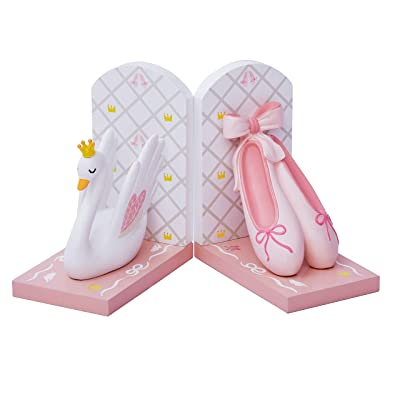 Fantasy Fields TD-12806A Girls Ballet Swan Lake Ballerina Set of Bookends, White/Pink: Toys & Games