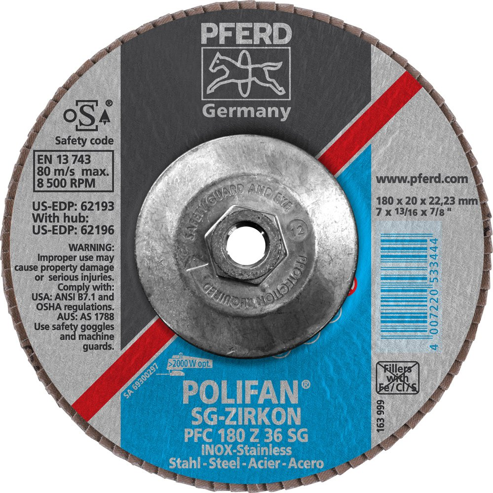 Zirconia Alumina 36 Grit 7 Diameter PFERD Inc. 7 Diameter PFERD 62196 Polifan SG Zirkon PFC Type 29 Conical Flap Disc 5//8-11 Thread 8600 rpm