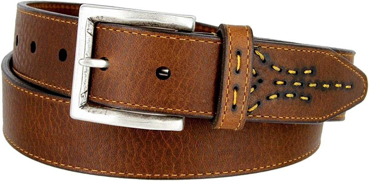 Lejon Oil Tanned Harness Leather Casual Dress Belt with Arrow Stitching Design