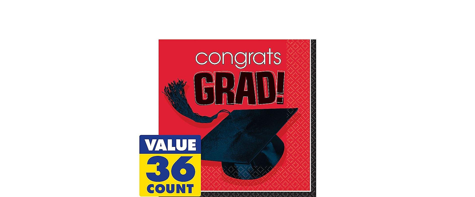 Amscan Costumes 202573 Congrats Grad Graduation Red Lunch Napkins