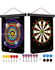 Rabosky Kids Magnetic Dart Board- Hot Toys for Christmas 2019 for Age 5 6 7 8 Boys with Gift Package- Interstellar Adventure New Gameplay - 12pcs Safety Magnetic Darts & 6 Extra Dart Flights