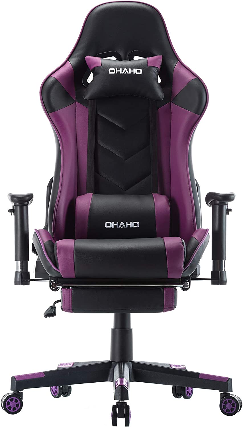 OHAHO Gaming Chair Racing Style Office Chair Adjustable Massage Lumbar Cushion Swivel Rocker Recliner Leather High Back Ergonomic Computer Desk Chair with Retractable Arms and Footrest (Black/Purple)