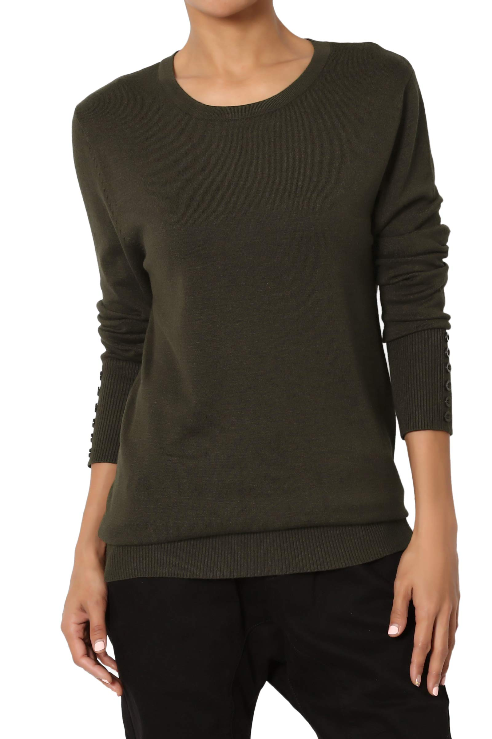 TheMogan Women's Button Long Sleeve Crew Neck Loose Fit Knit Sweater Olive L