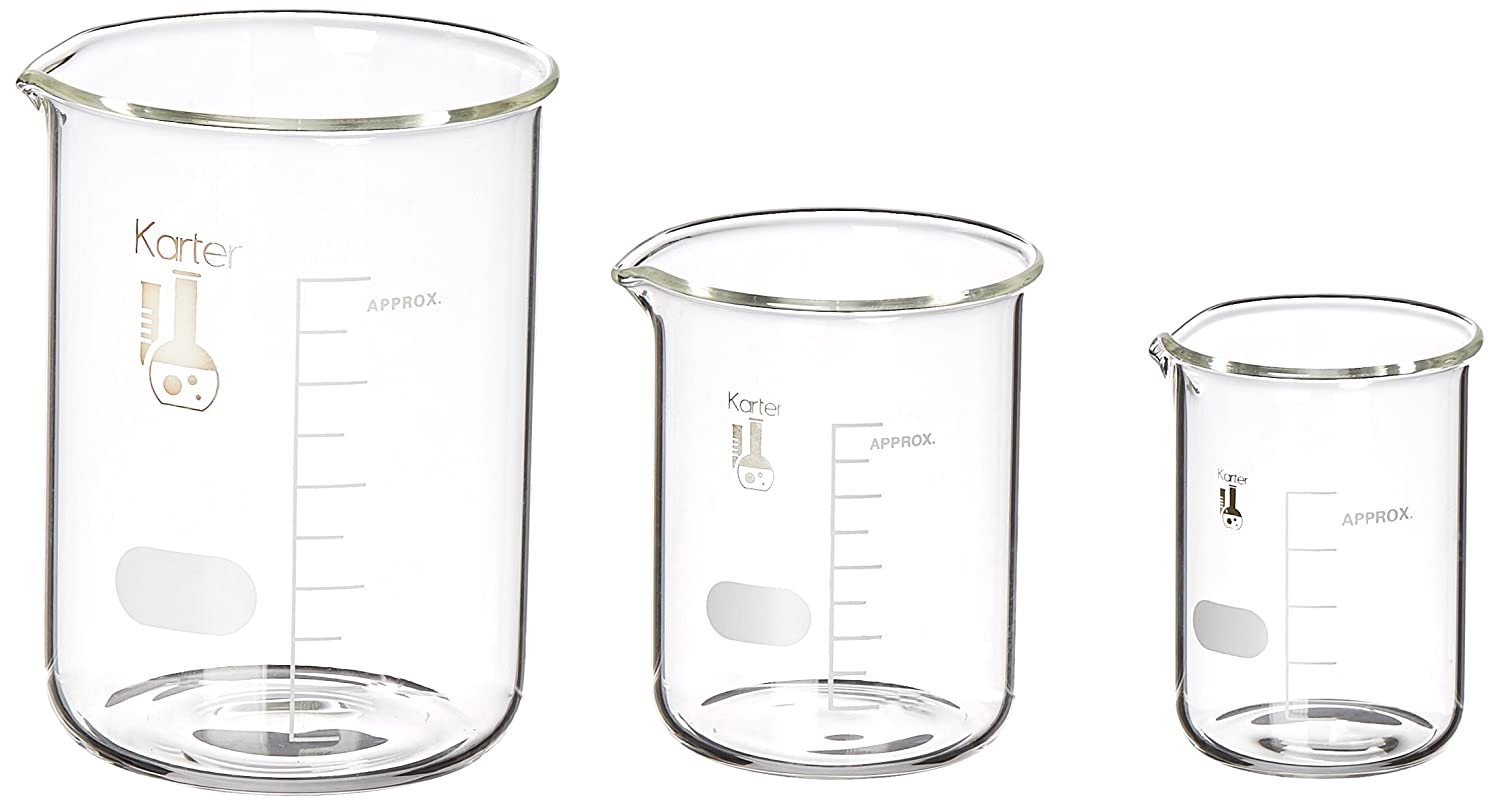 Borosilicate Glass Beaker Set, 50/100/250 mL, 3 Sizes, 3 Pack