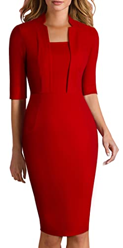 HOMEYEE Women's Classy Short Sleeve Official Sheath Casual Pencil Dress 693