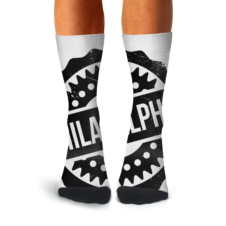 Knee High Long Stockings KCOSSH Philadelphia Philly Crazy Calf Socks Athletic Crew Sock For Mens